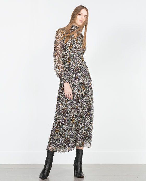 bf8e3b17 Image 1 of PRINTED LONG SLEEVE MAXI DRESS from Zara | Shop Edit ...