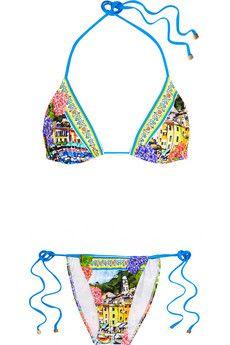 detailing 901e5 4b9a1 Dolce & Gabbana Portofino printed triangle bikini | NET-A ...