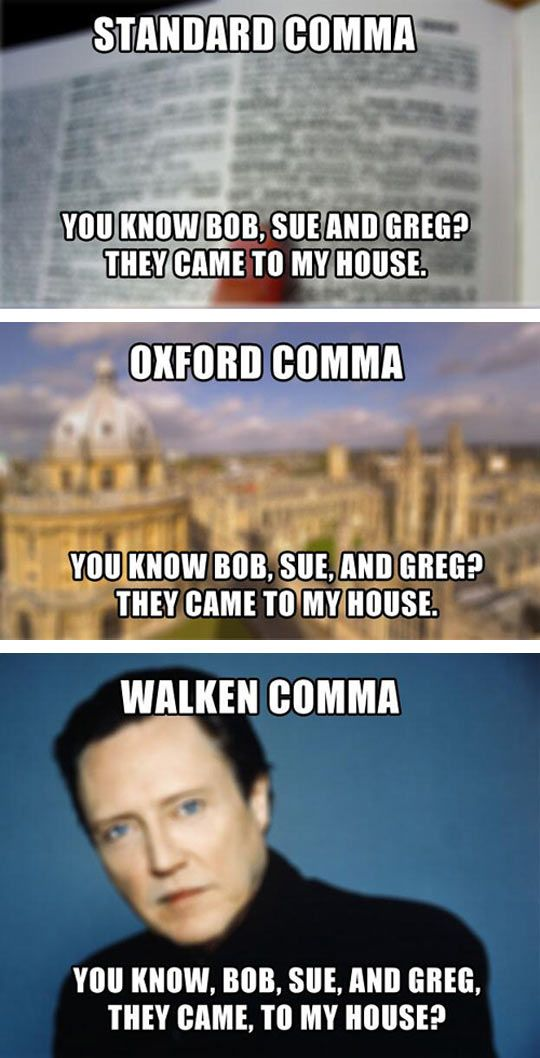 Walken Comma Shatner Comma : walken, comma, shatner, Types, Commas, Grammar, Humor,, Laugh,, Funny, Pictures