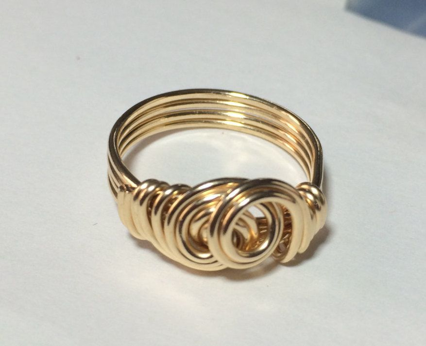 Gold Wire Wrapped Jewelry Handmade Ring, 14K Gold Filled Ring, Swirl ...