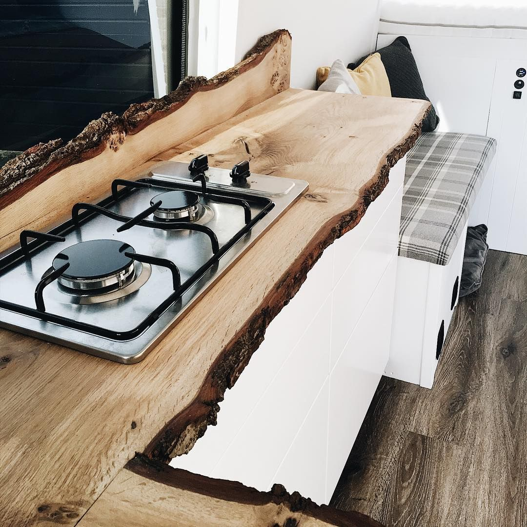 Gorgeous Live Edge Countertop And Backsplash In This Rv Kitchen