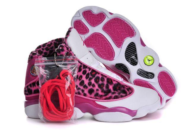 hot sale online 4c2ef b9bf4 Womens Sports Sneakers Nike Jordan 13 (GS) Retro Leopard Print Pink White-