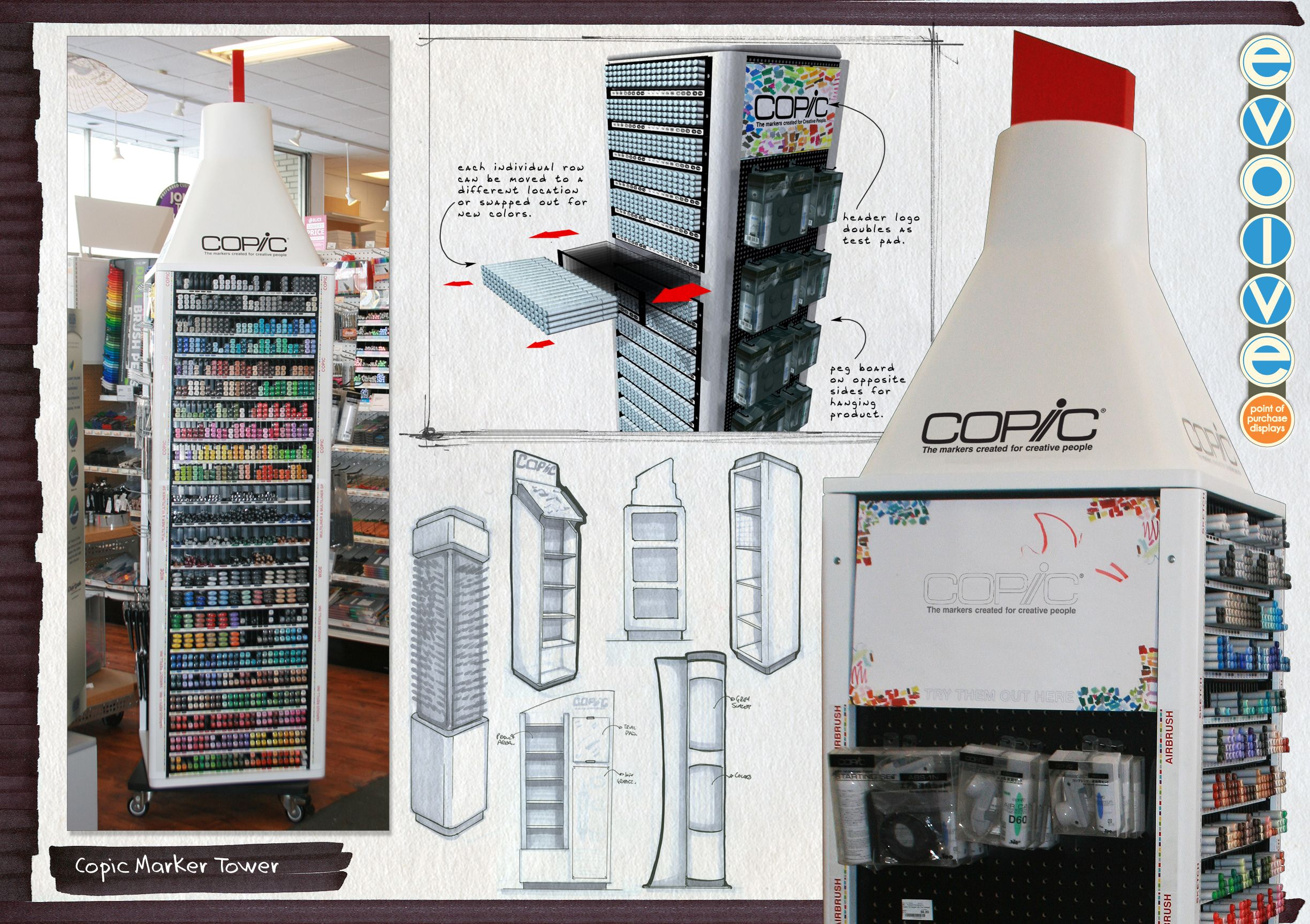 This is a display we designed for Copic Markers! You can find them in Dick  Blick art supply stores and other major art supply retailers.