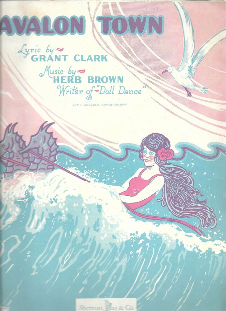 Avalon Town Vintage Sheet Music 1928 Piano Ukulele Vocal Free Shipping #vintagesheetmusic