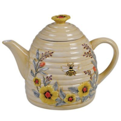 Certified International   Sweet As A Bee Beehive Teapot - With bees, flowers and sweet sayings, Sweet as a Bee Dinnerware from Certified International brings utterly charming style to your table. In a soft color palette of yellows and greys, this lovely earthenware collection delights.
