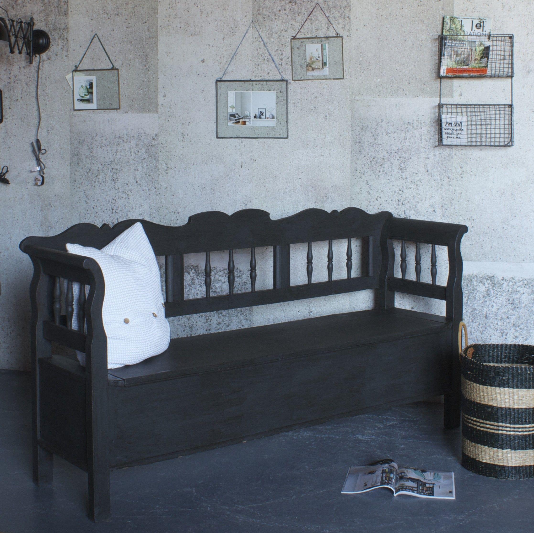 Vintage Settle Bench   Vintage Black Bench   Design Vintage   bench ...