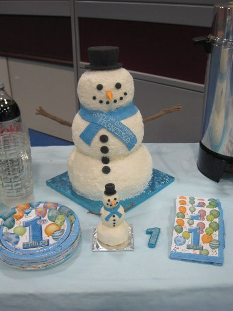Superb Snowman 1St Birthday Cake And Mini Snowman Smash Cake For The Personalised Birthday Cards Petedlily Jamesorg
