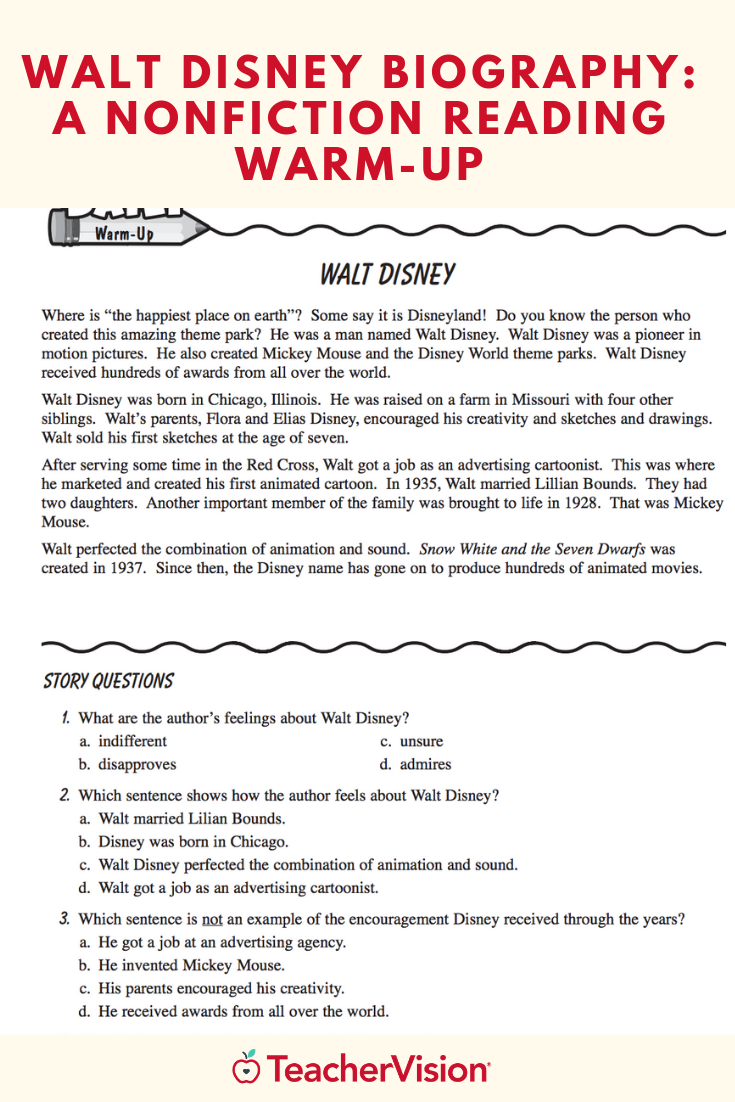 Walt Disney Biography   Nonfiction reading [ 1102 x 735 Pixel ]