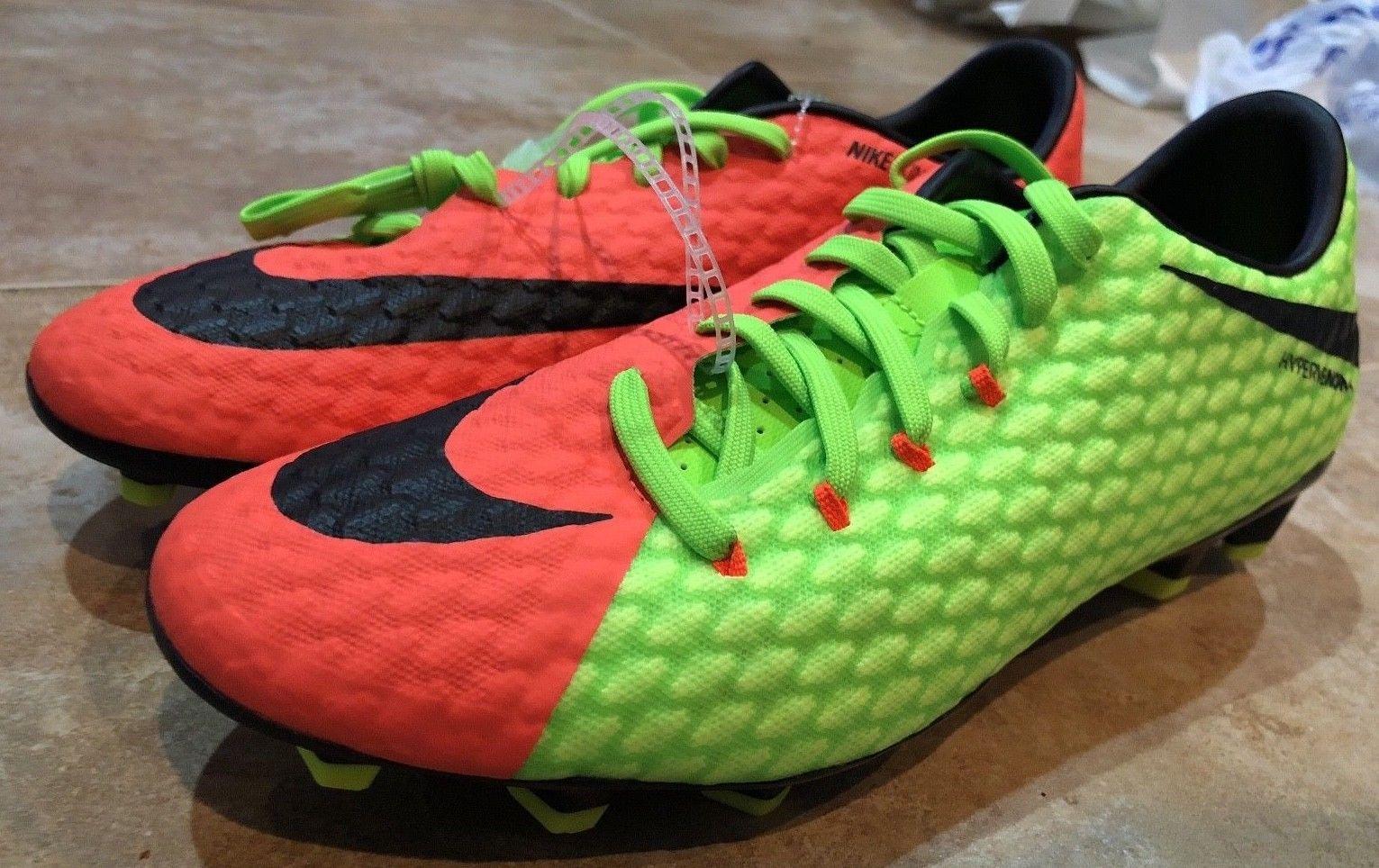 63ba78dae Nike Hypervenom Phelon III FG Green Orange 852556-308 Men s Sz 8 Soccer  Cleats