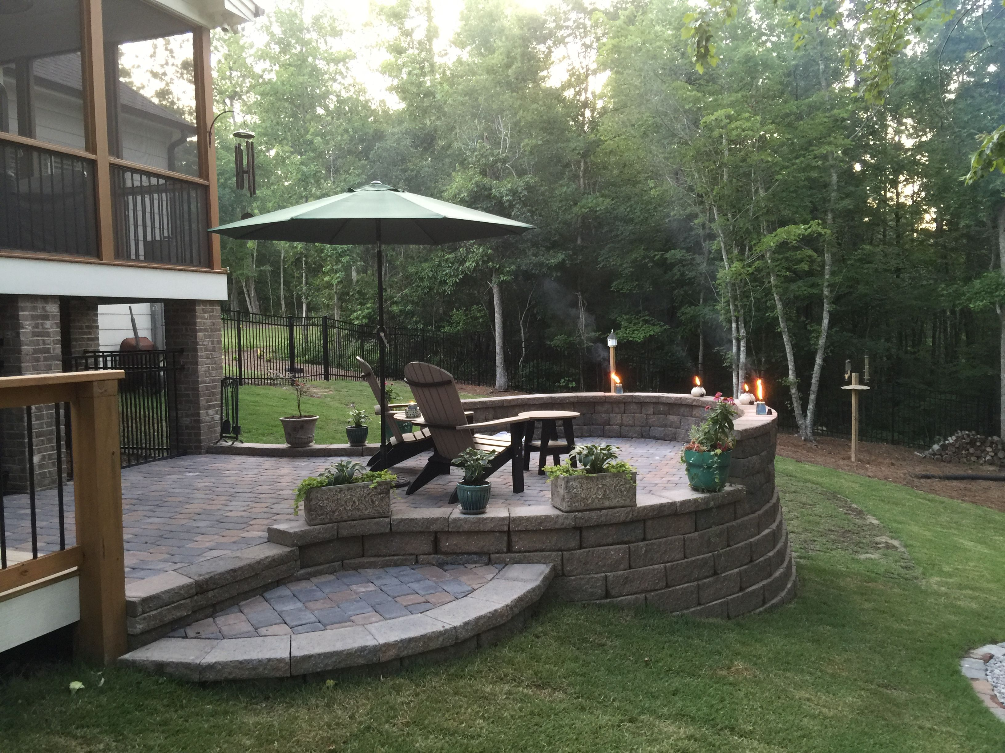 Raised patio with pavers. Just needs a fire pit and some ...