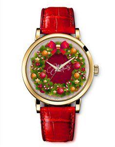 Femme Mode Watch Retro Montre Bracelet Cuir Rouge Quartz Bijoux Décor Wrist Watch Guirlande de Noël Merry bonbons