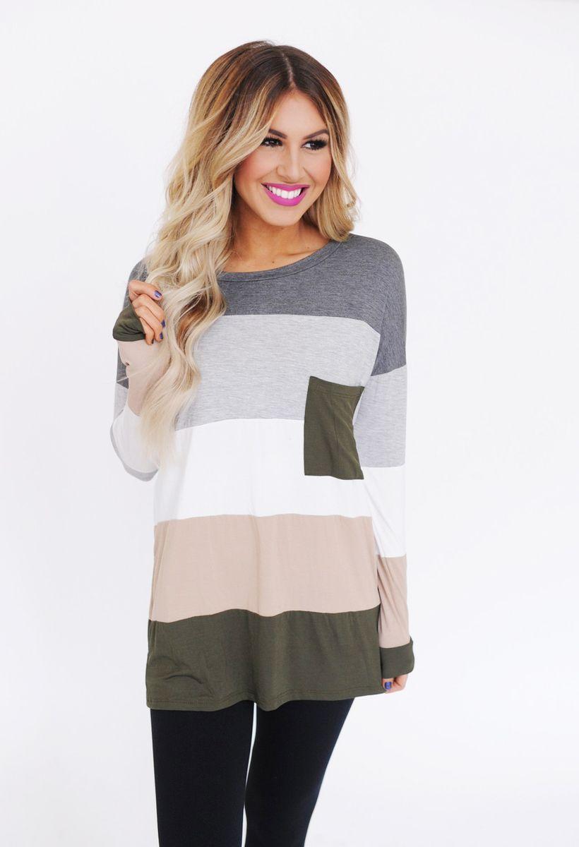 e75ec9009b51c Charcoal Olive Color Block Long Sleeve - Dottie Couture Boutique ...