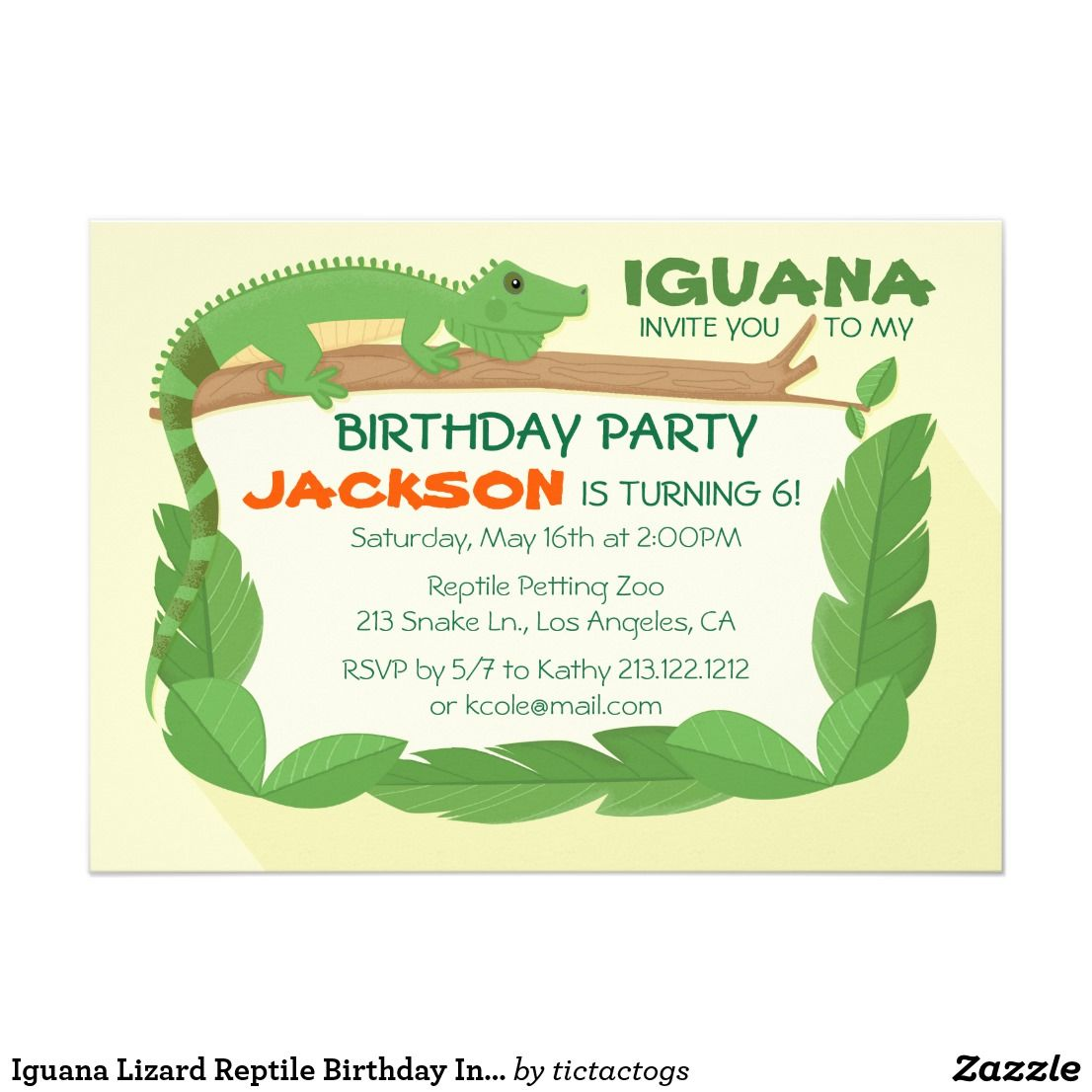 Iguana lizard reptile birthday invitation boys birthday party iguana lizard reptile birthday invitation filmwisefo
