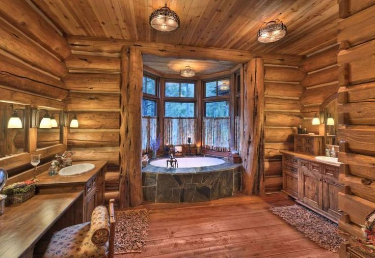 Rustic Log Cabin Bathroom With A Spa Tub Look At The View From