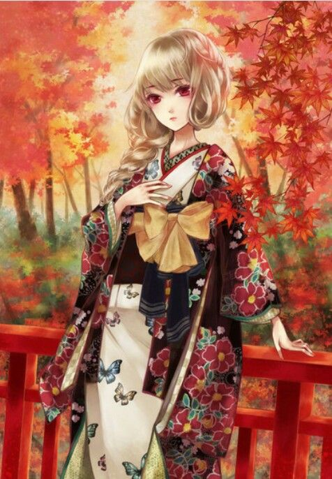 anime girl with blonde hair wearing