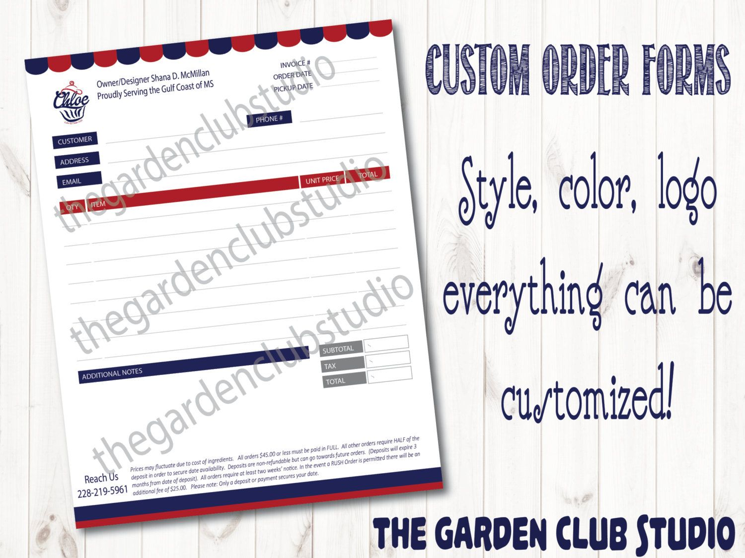 Custom Order Form All Types Bakery Order Form Template