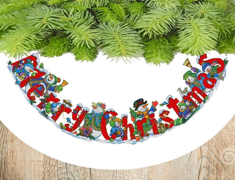 Celebrating Snowmen Christmas Tree Skirt Holiday Counted Cross Stitch Winter Embroidery Hand Embroidery Chart Needlepoint Chart Pdf In 2020 Christmas Tree Skirt Cross Stitch Tree Tree Skirt Pattern