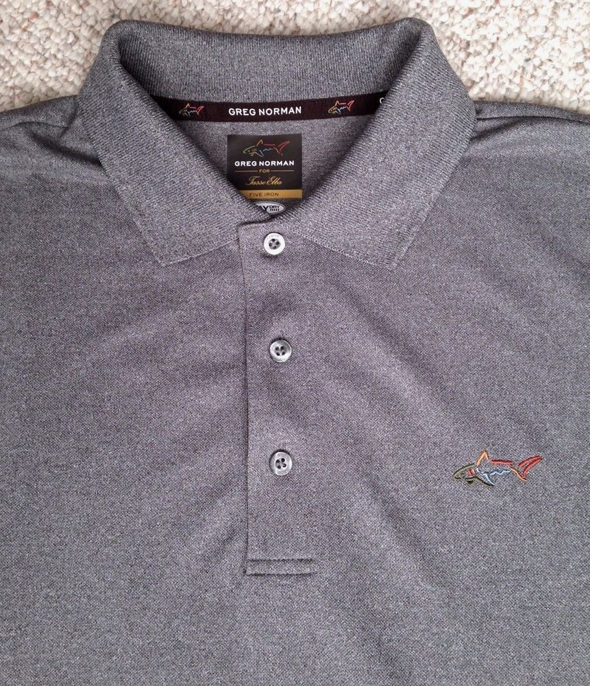 Polyester Dry Fit GREG NORMAN SHARK POLO T-SHIRT Dark Gray Golf MED(Runs Large) #GregNorman #ShirtsTops