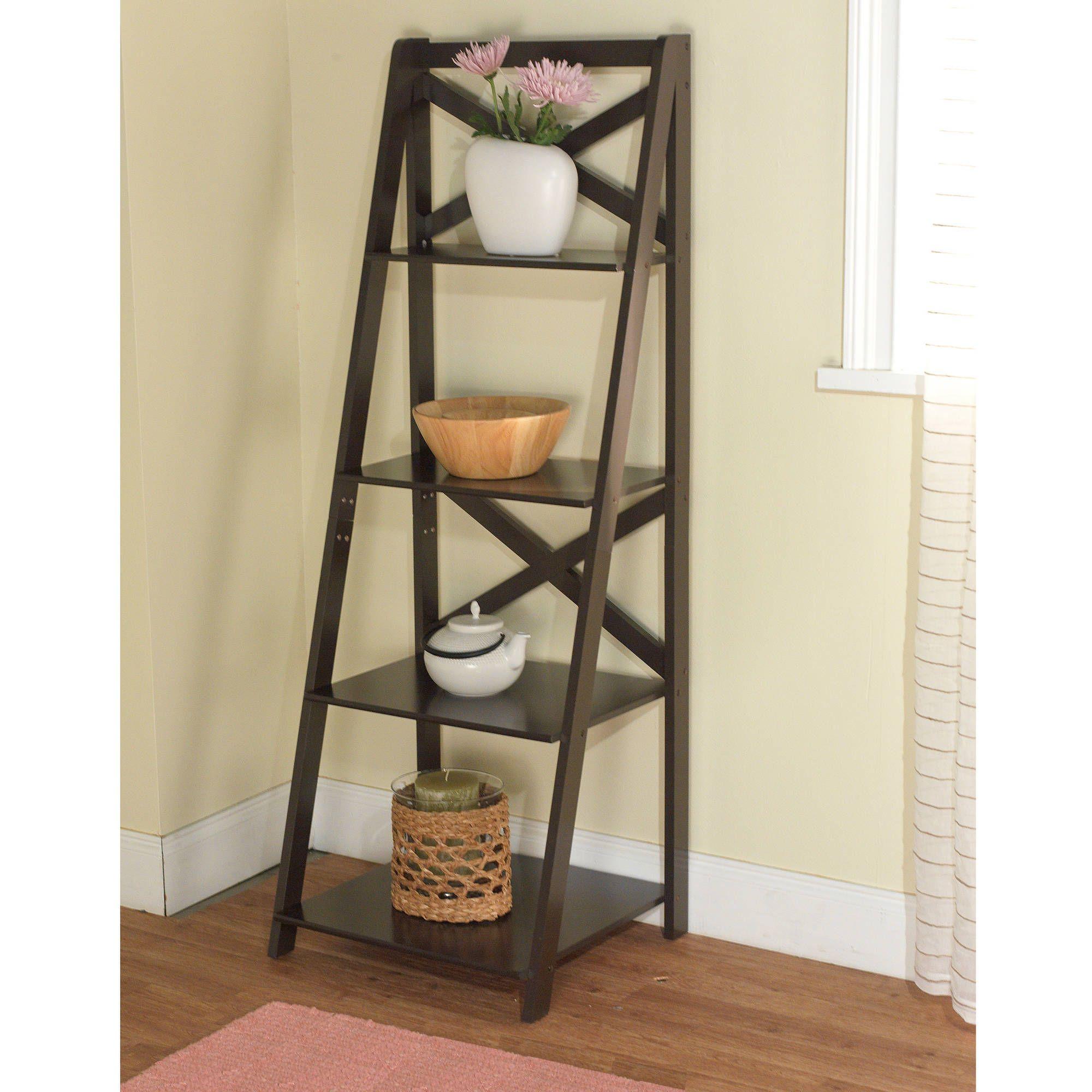 Mainstays Leaning Ladder 5 Shelf Bookcase Espresso