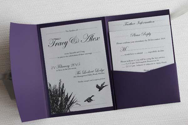 Purple This Deep Pocketfold Encloses A Set Of Metallic Wedding Invitations