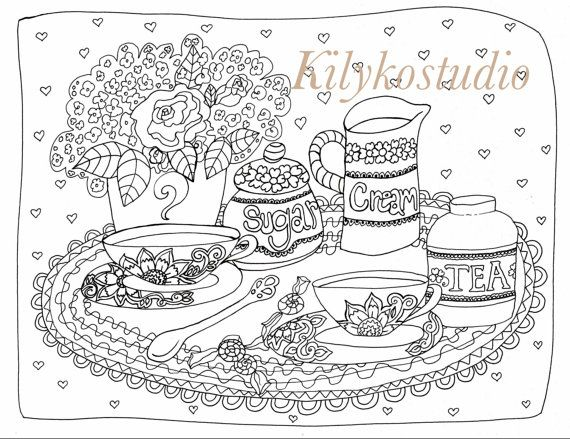 Tea Time Cups Adult Coloring Page Instant By Kilykostudio