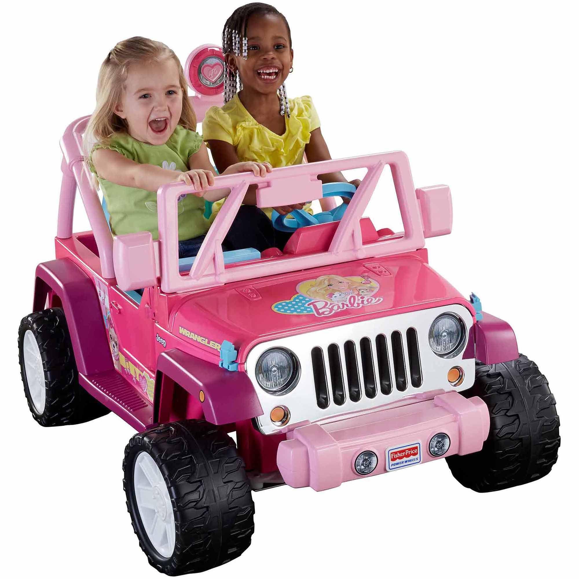 fisher price power wheels barbie jammin jeep wrangler 12 volt battery powered