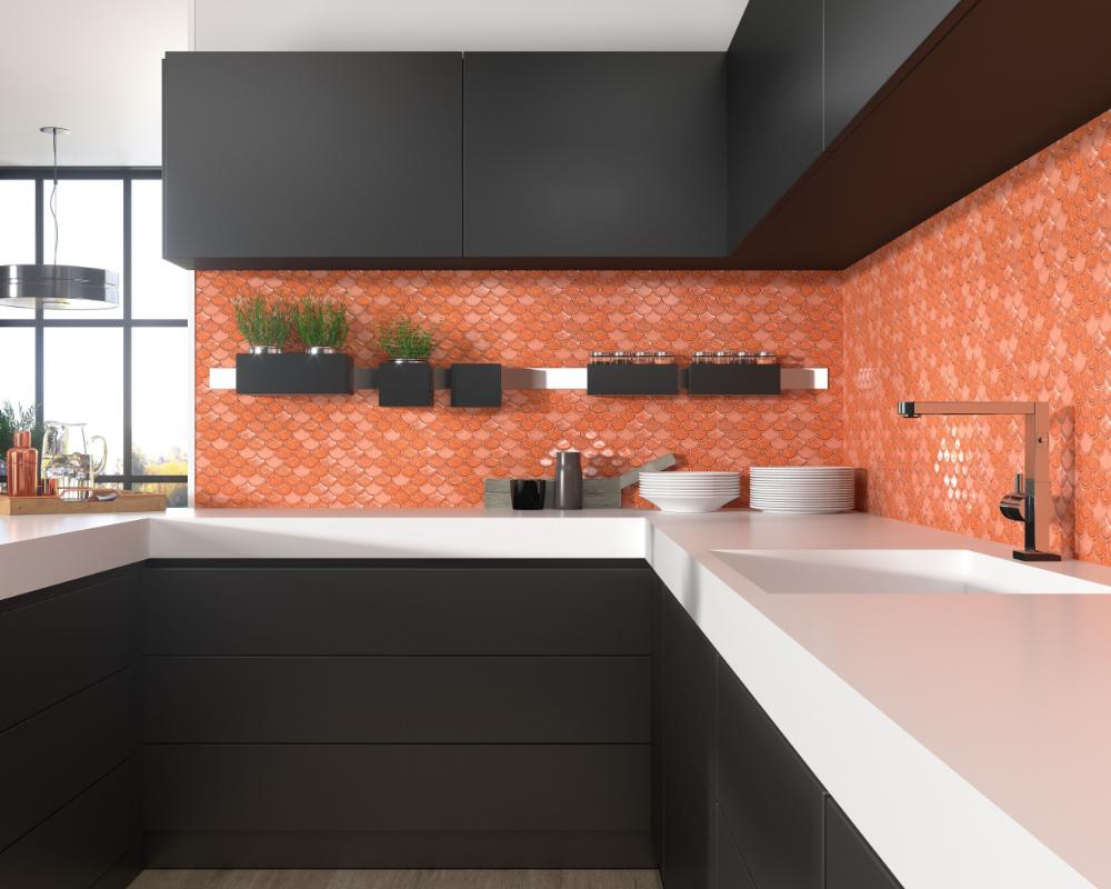 Coral 30 0x26 0 Cm 11 8 X10 2 Mosaics Glass In 2020 Coral Kitchen Kitchen Kitchen Cabinets
