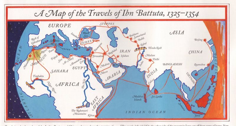 Map of travels of Ibn Battuta, good for notebooking Sonlight Core - copy interactive world map amazon