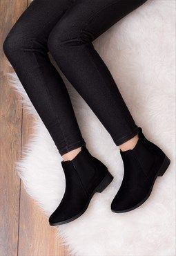 Flat Chelsea Ankle Boots - Black Suede
