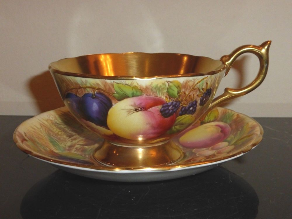 Aynsley Gold and Orchard Fruits Signed D. Jones Bone China Cup and ...