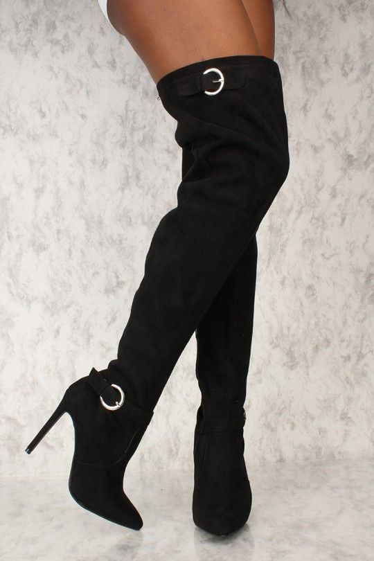 Sexy Black Buckle Pointy Toe Thigh High Boots Faux Suede