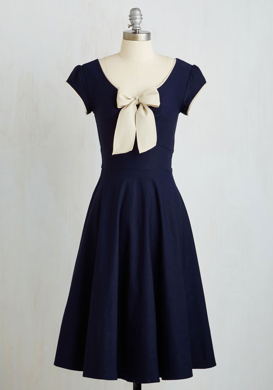 Coach tour aline dress in violet navy blue dresses modcloth and