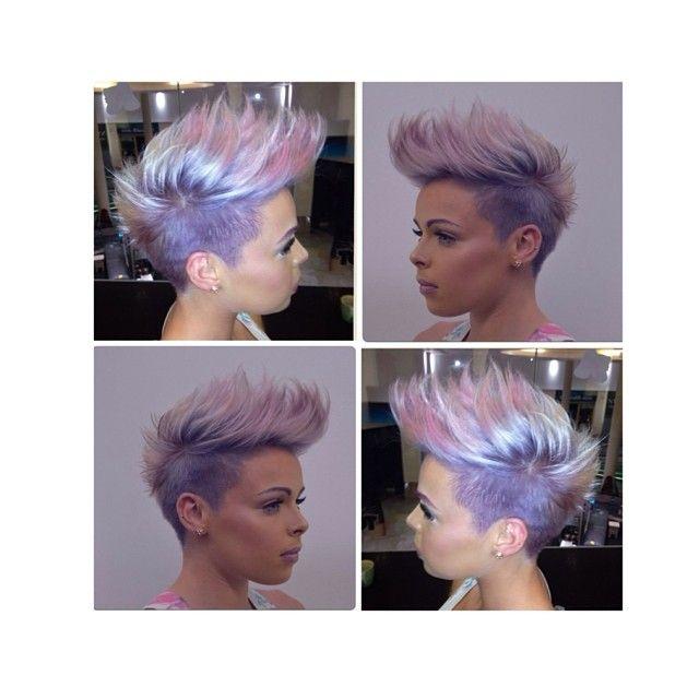 Faux Hawk, undercut, pastel purple