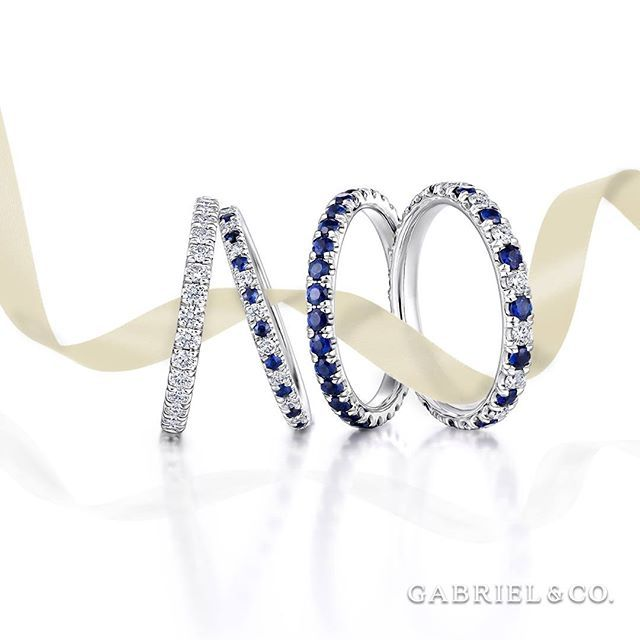 Pop Perfect Ring Diamontrigue Jewelry: 14K White Gold Sapphire Stackable Ring