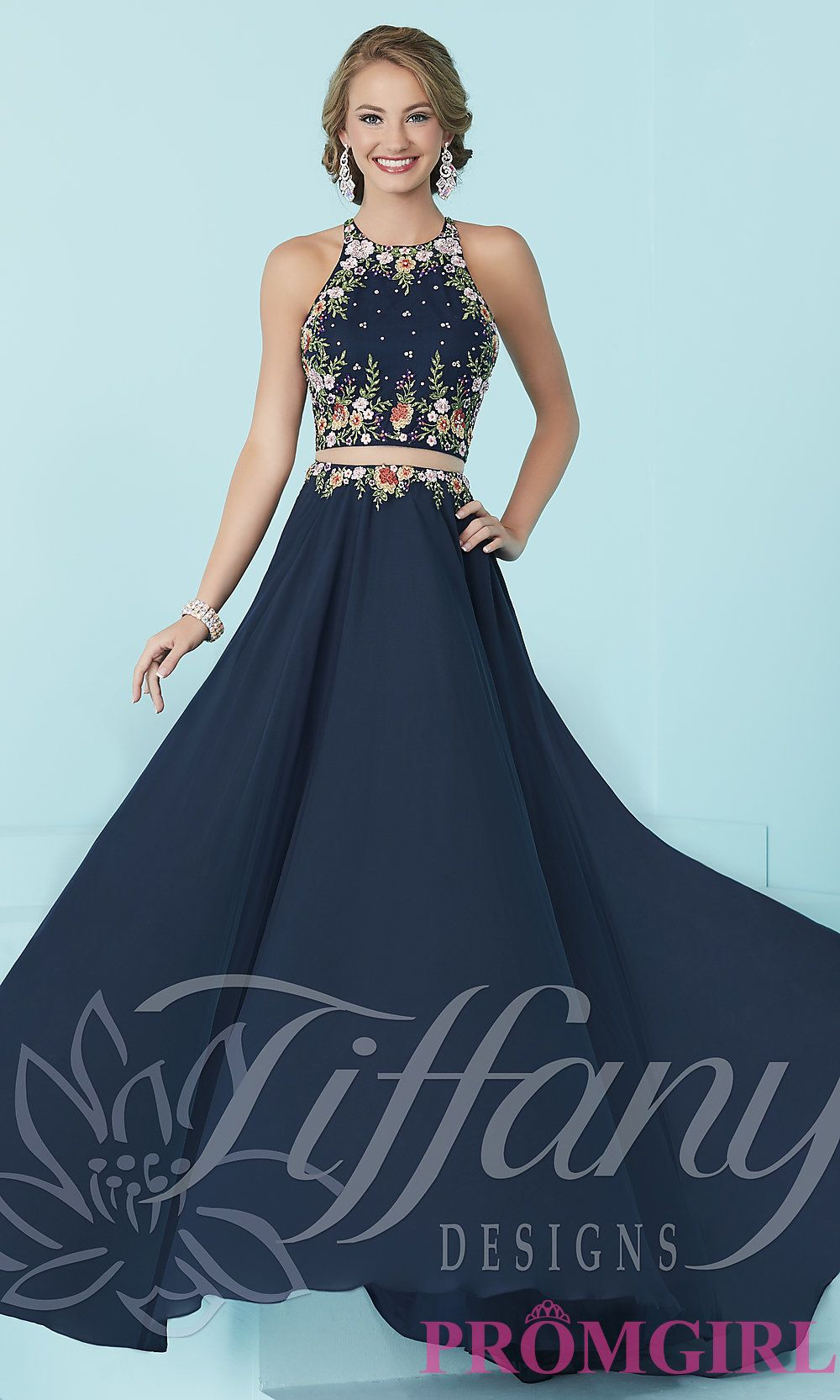 3bd6492f2218 Long mock two-piece prom dress with embroidered top by Tiffany. Style:  TF-16206