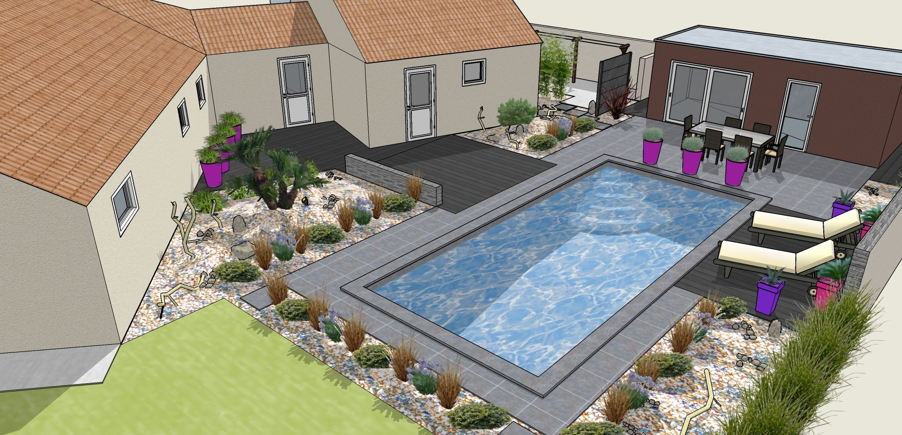 Am nagement paysager piscine creus e contemporain for Plan amenagement jardin