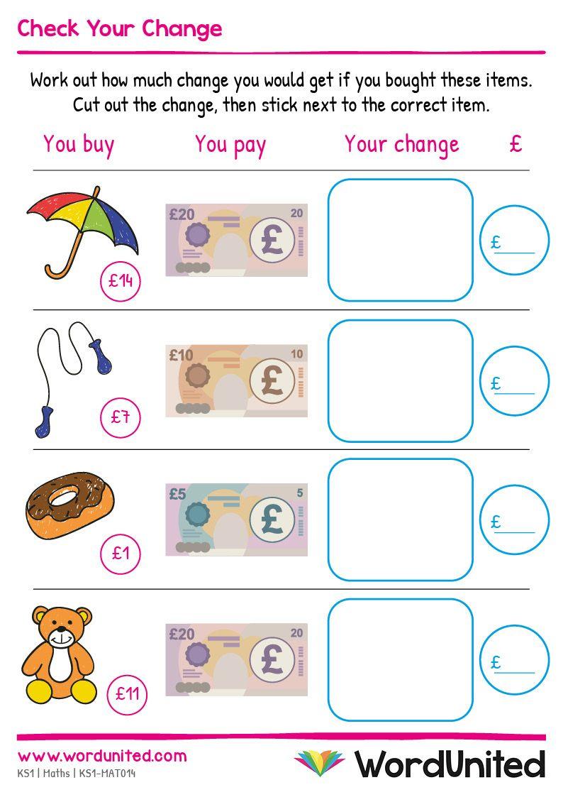 Check Your Change Worksheet Wordunited Key Stage 1 Maths Free Math Printables Homeschool Worksheets Key stage maths money worksheets