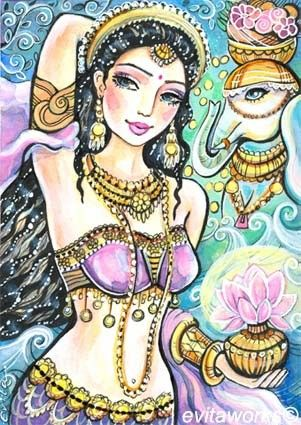 India Goddess Illustration Mermaid Fairy Art by evitaworks on Etsy
