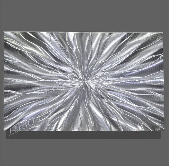 Abstract Silver Metal Art Contemporary Colour Light Reflect