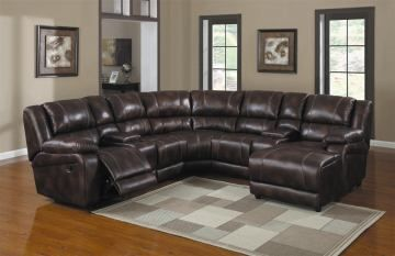 Homelegance Viewers 7 Piece Sectional In Dark Brown Living Room