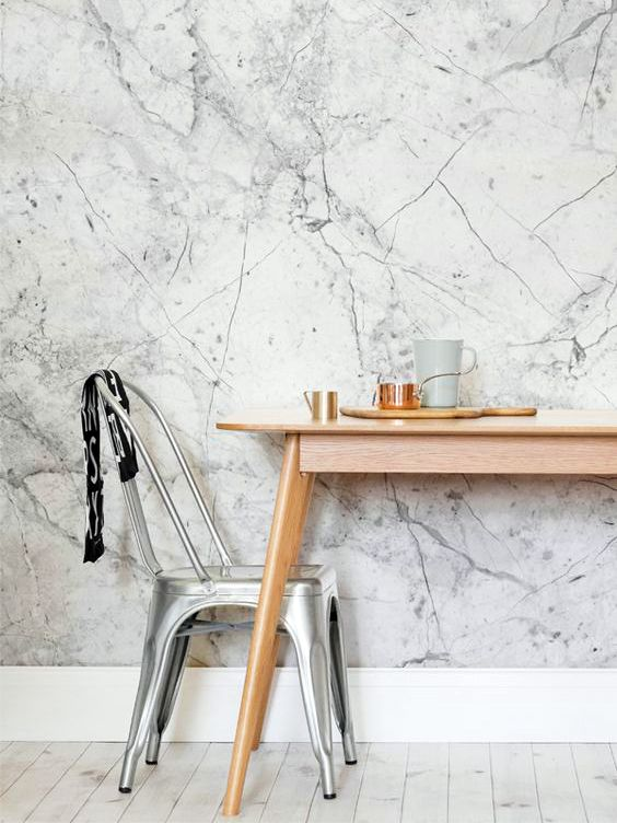5 Spaces That Will Make You Fall In Love With Marble Wallpaper - tapices modernos