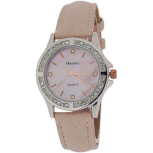Henley Ladies Analogue Diamant Bezel Pink Dial & PU Strap Watch H06062.5