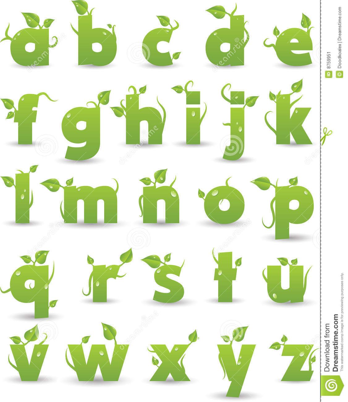 Illustration About Vector Green Floral Alphabet Isolated