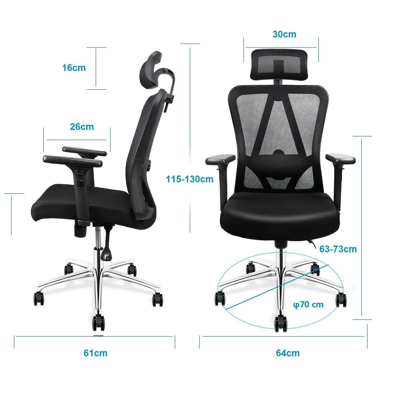 Topvork High Back Mesh Office Chair Ergonomic Chair Desk Chair With Adjustable Headrest Armrest And Lumbar In 2020 Office Chair Mesh Office Chair Home Office Furniture