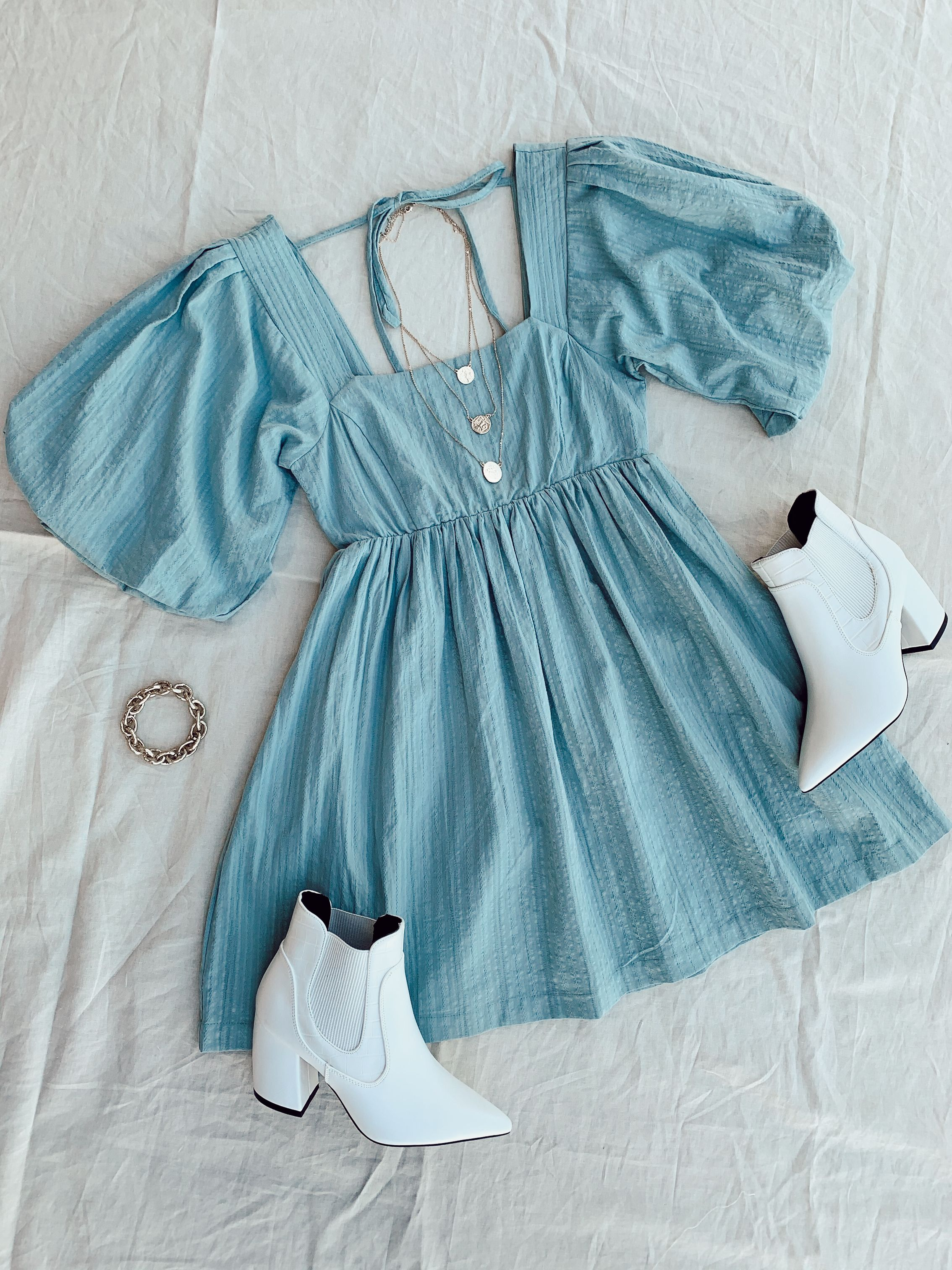 Blue Puff Sleeve Baby Doll Dress With Back Detail Casual Style Outfits Girly Outfits Fashion Tops Blouse [ 3024 x 2268 Pixel ]