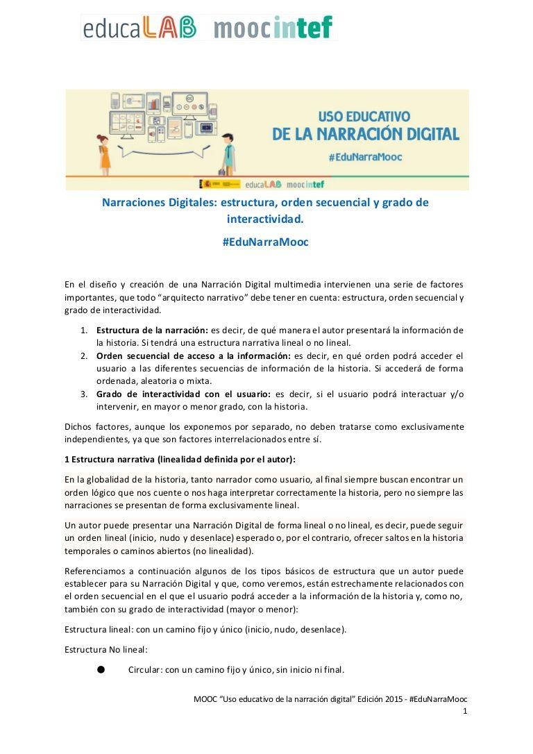 Narraciones Digitales Estructura Orden Secuencial Y Grado