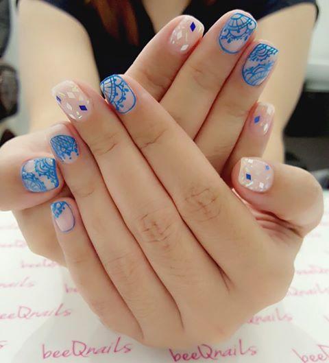 Beautiful Blue Lace for Ellaine Lew #beeqnailsellainelee #beeqnailsdamen