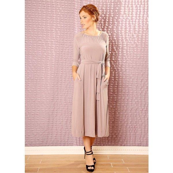 Tamar Landau Custom made Bridesmaids midi dress ($165) ❤ liked on Polyvore featuring dresses, lavender, lavender long dress, pink maxi dress, pink dress, pink midi dress and lavender maxi dress