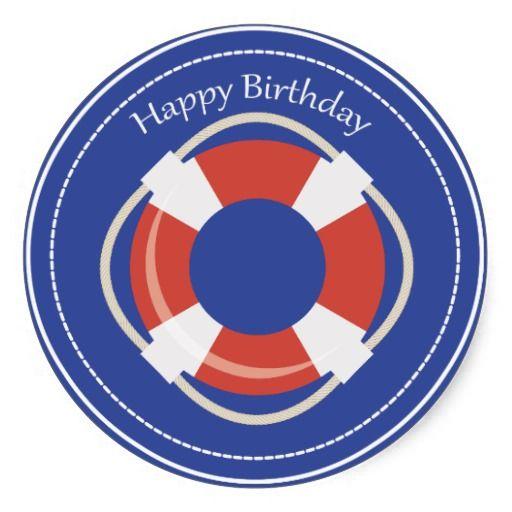 Life Buoy Nautical Happy Birthday Sticker Happy birthday and