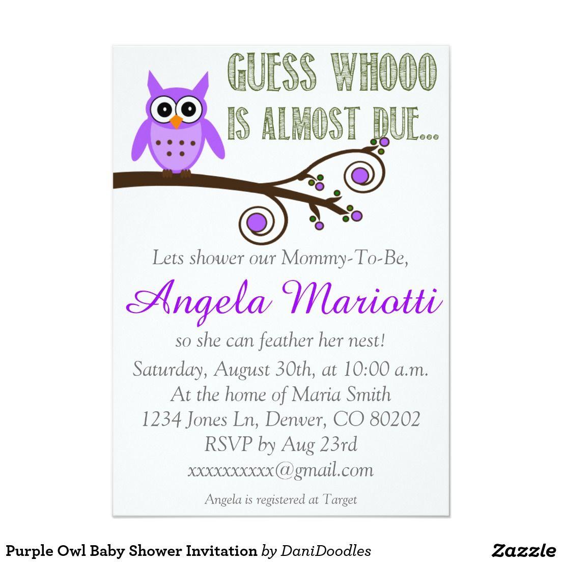 Purple Owl Baby Shower Invitation | Zazzle invitations and Shower ...